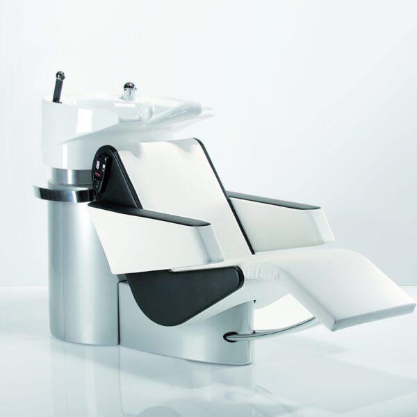 Waschanlage LavaSit Comfort weiß-schwarz ausgefahrene Beinauflage